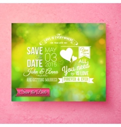 fresh green organic save the date wedding template vector image