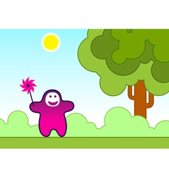 Funny child with a wind toy vector
