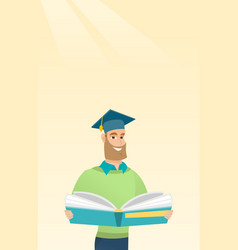 Graduate with book in hands vector