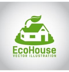 green eco house icon vector image