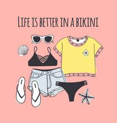 Hand drawn summer quote and bikini vector