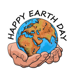 happy earth day typography globe in hands two vector image