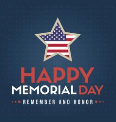 happy memorial day design poster american vector image
