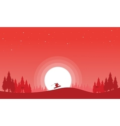 Happy ski at winter Christmas scenery vector