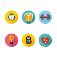 Healthy lifestyle flat round icon set vector