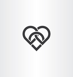 Heart knot black icon design vector