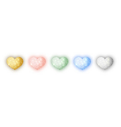 hearts glitter texture set isolated object symbol vector image