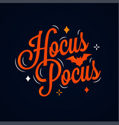 hocus pocus lettering halloween card on dark vector image