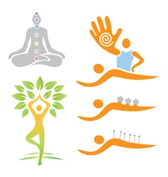 Icons yoga massage alternative medicine vector