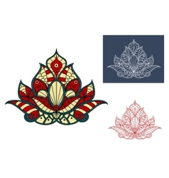 Indian flower with colorful paisley ornaments vector