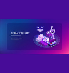 isometric drone fast delivery goods in city vector image