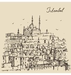 Istanbul Turkey Harbor Vintage Engraved Sketch vector
