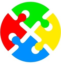 Jigsaw puzzle in the form of push the colored vector image