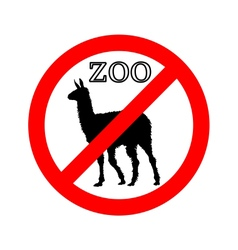 Lama in zoo prohibited vector