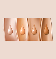 liquid foundation drops isolated on colored liquid vector image