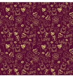 Love Doodle Pattern Background vector image
