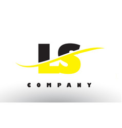 ls l s black and yellow letter logo with swoosh vector image