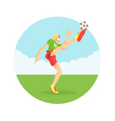 male soccer player in sports uniform kicking ball vector image