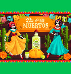 mexican day dead dancing catrina skeletons vector image
