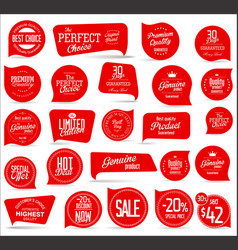 modern red sale badges collection vector image