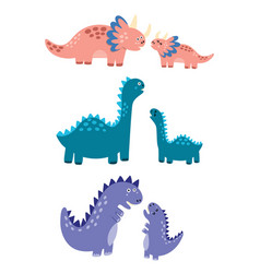 mothers and babies dinosaurs set vector image