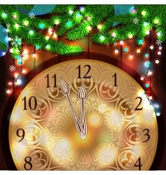 New Year clock on the wooden background vector image