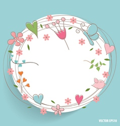Note paper with hearts and flowers vector