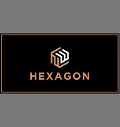 Nw hexagon logo design inspiration vector