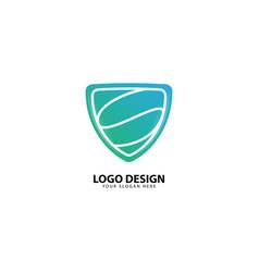 Padlock shield letter s security logo design vector