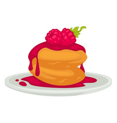 Pancakes with raspberry jam and berry with mint vector