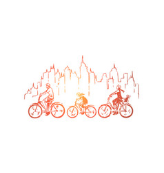 Parents with child riding bikes vector
