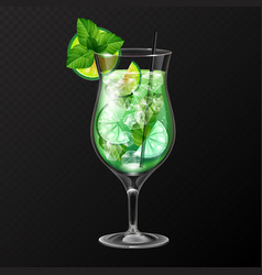realistic cocktail mojito glass vector image