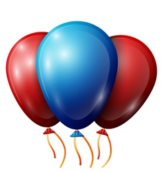 Realistic red blue balloons with ribbons isolated vector