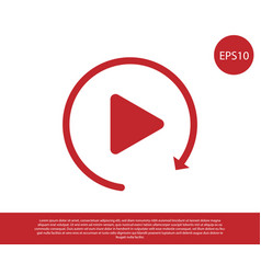 Red video play button like simple replay icon vector