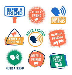refer a friends banners set referral vector image