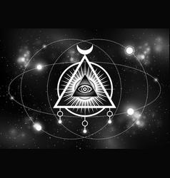 Sacred masonic symbol all seeing eye galaxy vector