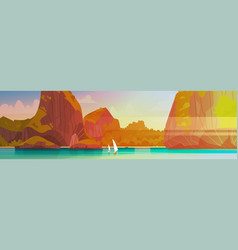 Sea landscape beautiful asian beach with mountain vector