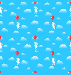 seamless pattern rabbit with balloon in sky vector image