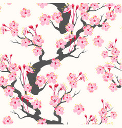 seamless pattern with pink sakura branch vector image