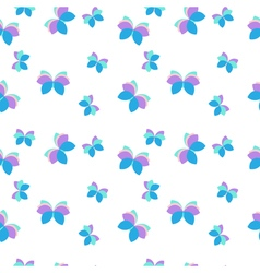 Seamless pattern with purple and blue butterflies vector