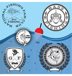 set emblems on topic fishing vector image