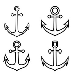 set of anchor icons design element for logo label vector image