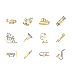 Simple line musical instruments icons set vector