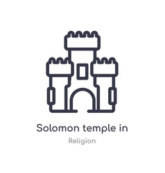 Solomon temple in jerusalem outline icon isolated vector