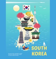 south korea tourism poster vector image