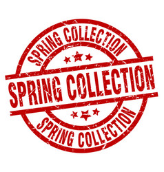 Spring collection round red grunge stamp vector
