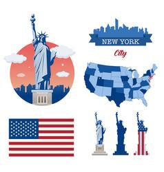 Statue liberty new york landmark and symbol of vector