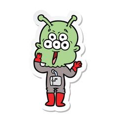 Sticker of a happy cartoon alien vector