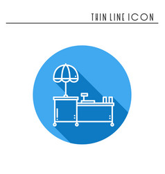 Street food retail thin line icon food trolley vector