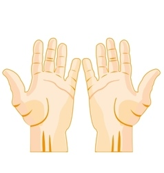 Stretched palm of the person vector